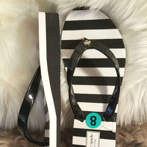 NEW Kate Spade Milli Wedge Flip Flops Striped 8
